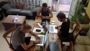 travel life movement gang working from home in tarifa, Spain